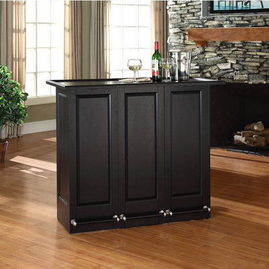 Crosley Furniture Mobile Folding Bar in Black Finish