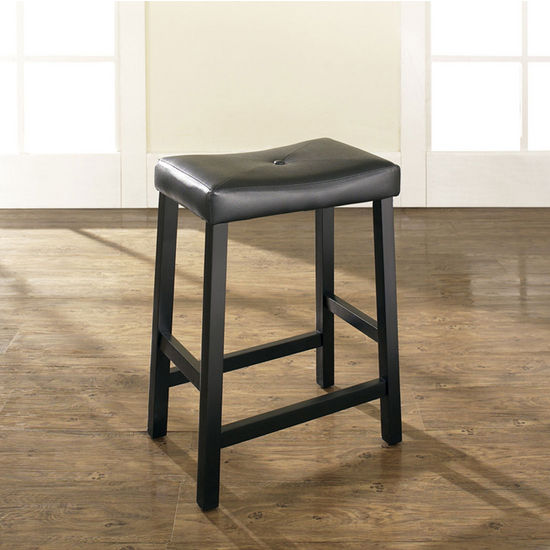 Crosley Furniture Upholstered Saddle Seat Bar Stool In Black