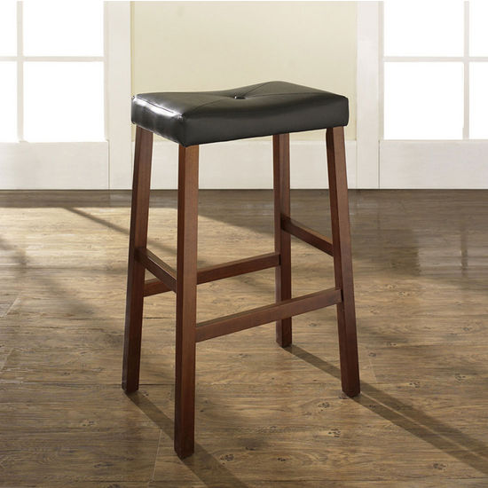 Crosley Furniture Upholstered Saddle Seat Bar Stool In