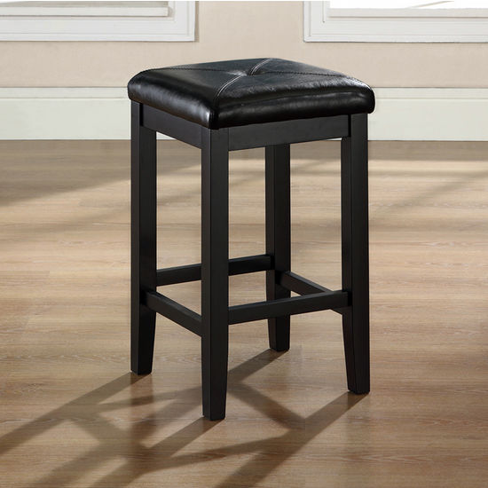 Crosley Furniture Upholstered Square Seat Bar Stool in Black Finish with 24 Inch Seat Height