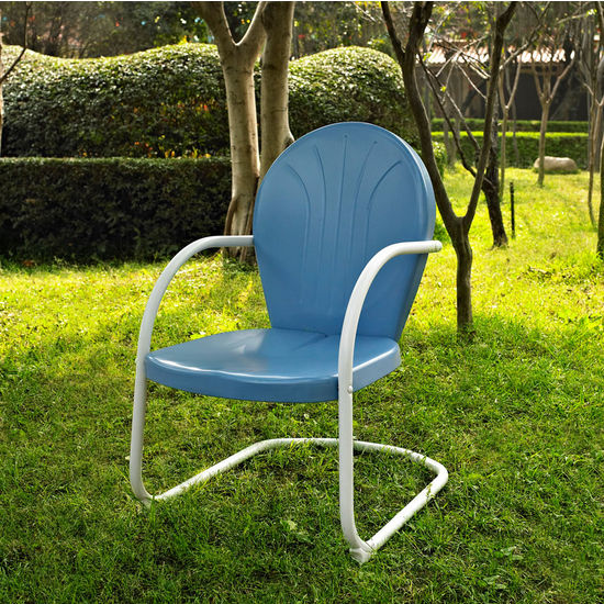 Crosley Furniture Griffith Metal Chair in Sky Blue Finish