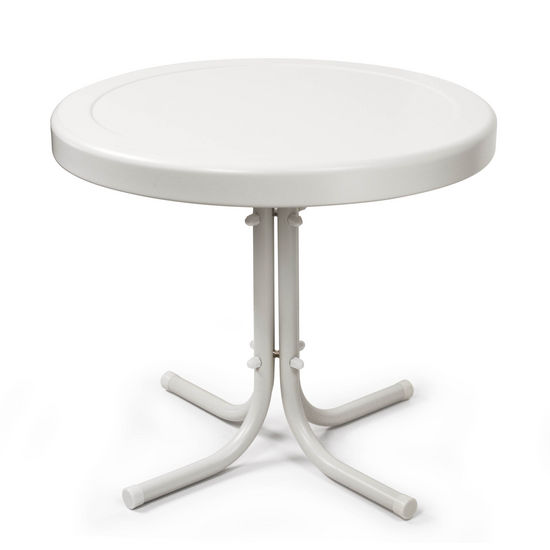 "Crosley Furniture Griffith Metal 20"" Side Table in White Finish"