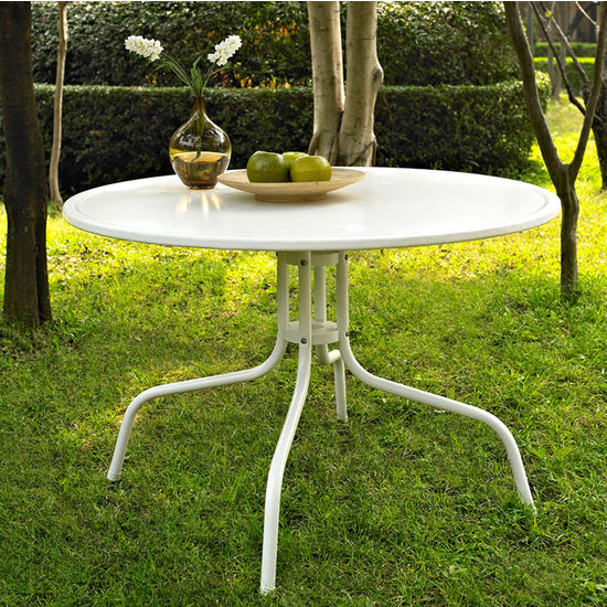"""Crosley Furniture Griffith Metal 40"""" Dining Table in White Finish"""