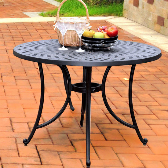 "Crosley Furniture Sedona 42"" Cast Aluminum Dining Table in Charcoal Black Finish"