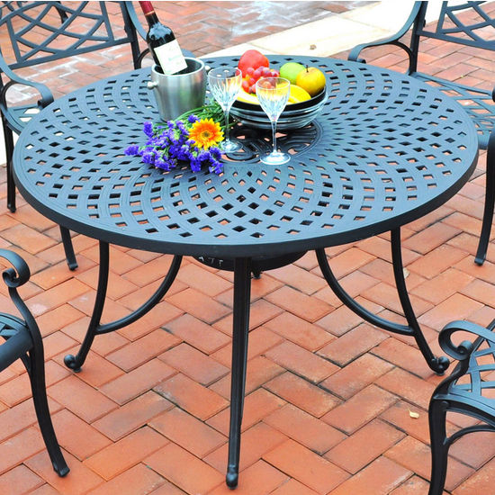 "Crosley Furniture Sedona 48"" Cast Aluminum Dining Table in Charcoal Black Finish"