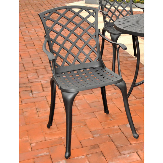 Crosley Furniture Sedona Cast Aluminum High Back Arm Chair in Charcoal Black Finish