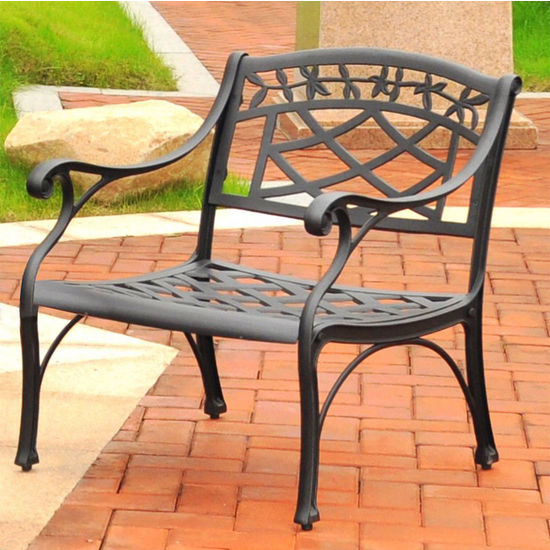 Crosley Furniture Sedona Cast Aluminum Club Chair in Charcoal Black Finish