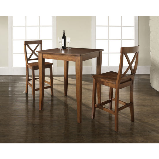 Crosley Furniture 3 Piece Pub Dining Set with Cabriole Leg and X-Back Stools