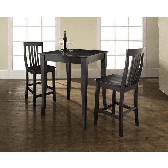 Crosley Furniture 3 Piece Pub Dining Set with Cabriole Leg and School House Stools