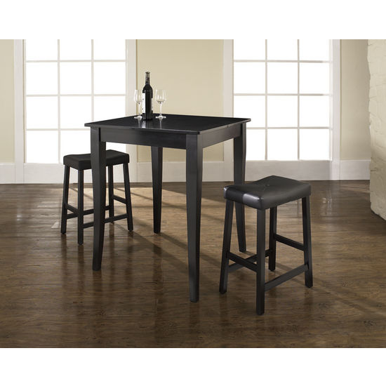 Crosley Furniture 3 Piece Pub Dining Set with Cabriole Leg and Upholstered Saddle Stools