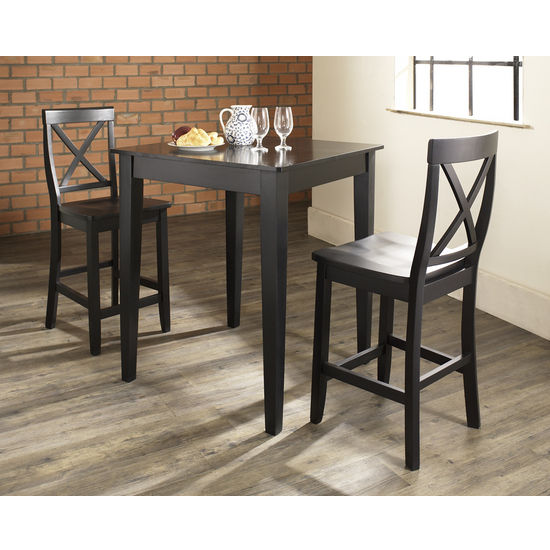 Crosley Furniture 3 Piece Pub Dining Set with Tapered Leg and X-Back Stools