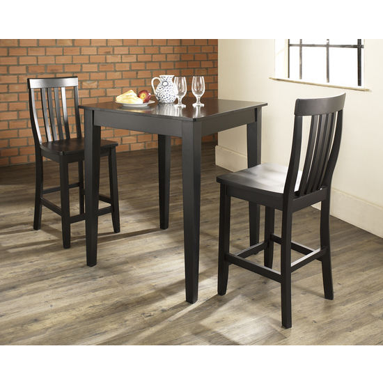 Crosley Furniture 3 Piece Pub Dining Set with Tapered Leg and School House Stools
