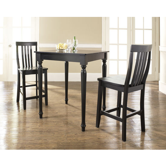 Crosley Furniture 3 Piece Pub Dining Set with Turned Leg and School House Stools