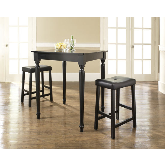 Crosley Furniture 3 Piece Pub Dining Set with Turned Leg and Upholstered Saddle Stools