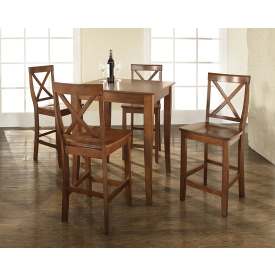 Crosley Furniture 5 Piece Pub Dining Set with Cabriole Leg and X-Back Stools
