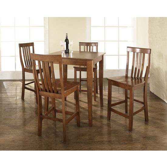 Crosley Furniture 5 Piece Pub Dining Set with Cabriole Leg and School House Stools