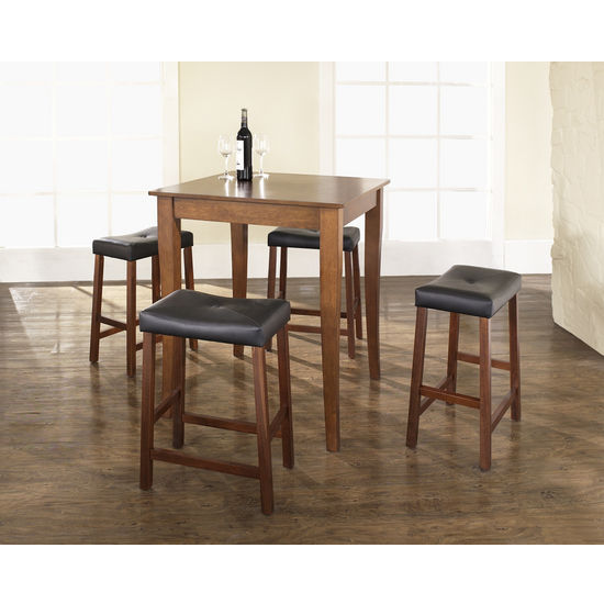Crosley Furniture 5 Piece Pub Dining Set with Cabriole Leg and Upholstered Saddle Stools