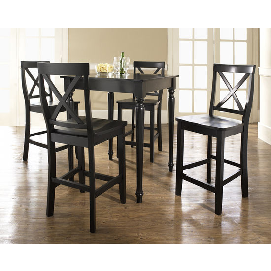Crosley Furniture 5 Piece Pub Dining Set with Turned Leg and X-Back Stools