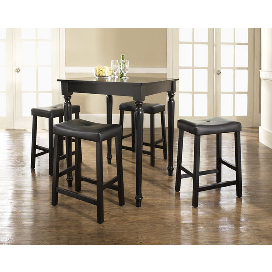 Crosley Furniture 5 Piece Pub Dining Set with Turned Leg and Upholstered Saddle Stools