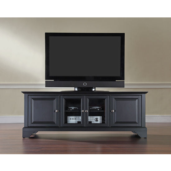 "Crosley Furniture LaFayette 60"" Low Profile TV Stand in Black Finish"