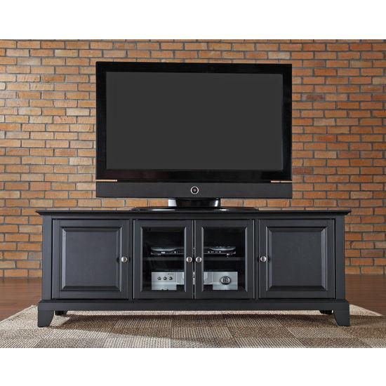 "Crosley Furniture Newport 60"" Low Profile TV Stand in Black Finish"