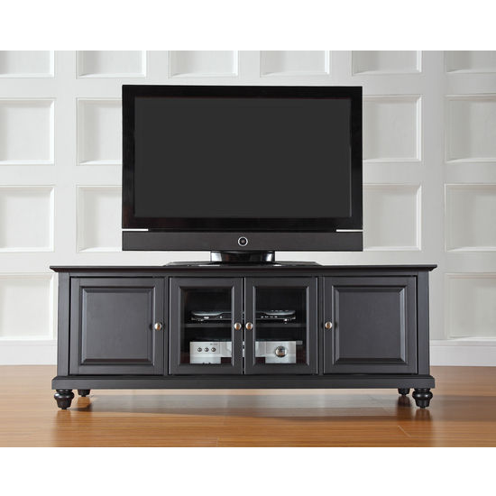 "Crosley Furniture Cambridge 60"" Low Profile TV Stand in Black Finish"