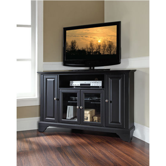 "Crosley Furniture LaFayette 48"" Corner TV Stand in Black Finish"