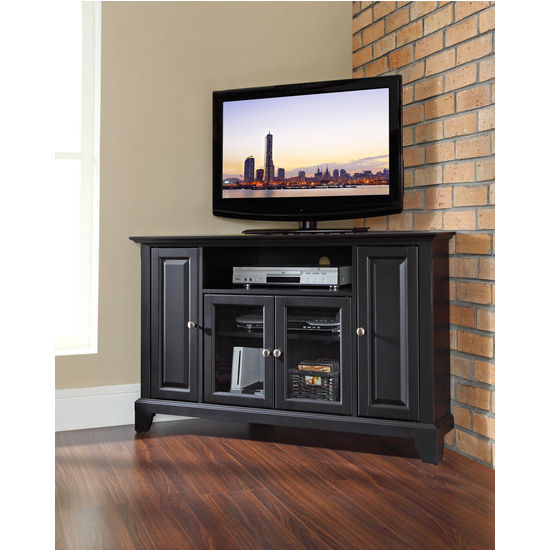 "Crosley Furniture Newport 48"" Corner TV Stand in Black Finish"
