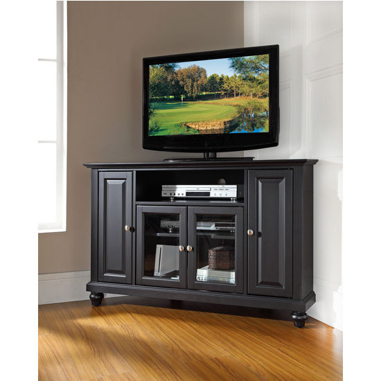 "Crosley Furniture Cambridge 48"" Corner TV Stand in Black Finish"