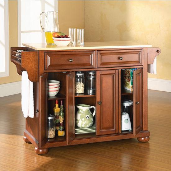 Crosley Furniture Alexandria Natural Wood Top Kitchen Cart