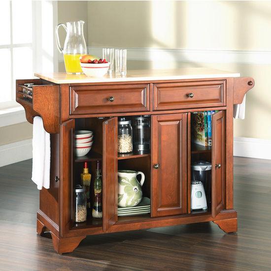 China Kitchen Austin Tx: Crosley Furniture LaFayette Natural Wood Top Kitchen Cart