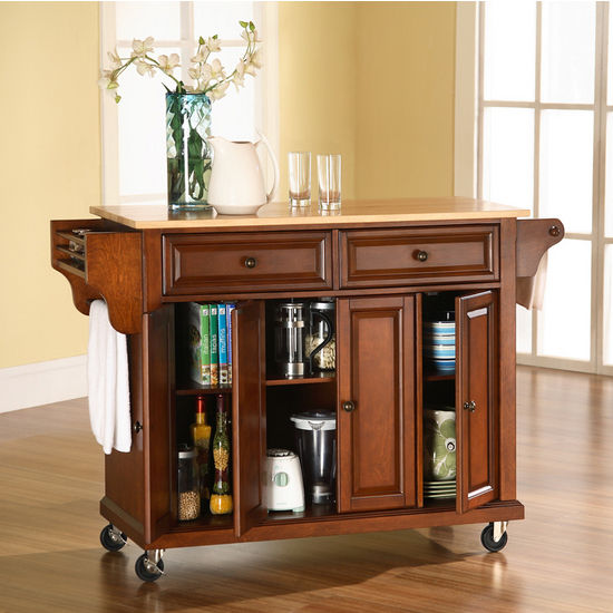 Crosley Furniture Natural Wood Top Kitchen Cart Or Island In Black - Crosley kitchen island cart natural wood top