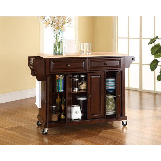Crosley Furniture Natural Wood Top Kitchen Cart Or Island