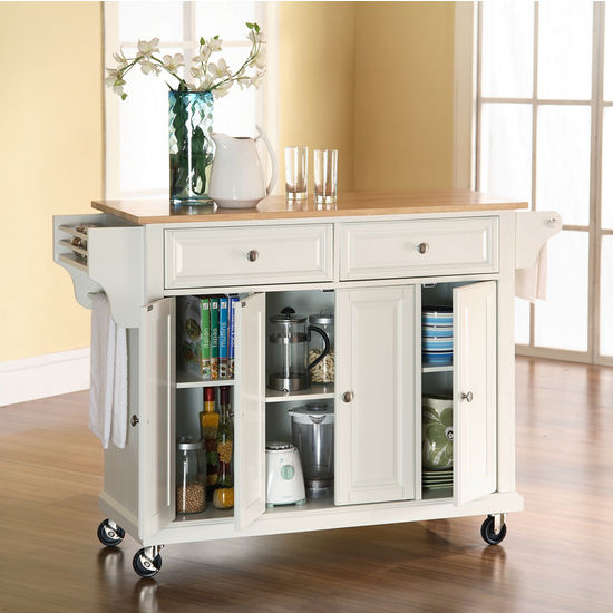 Crosley Furniture Natural Wood Top Kitchen Cart Or Island