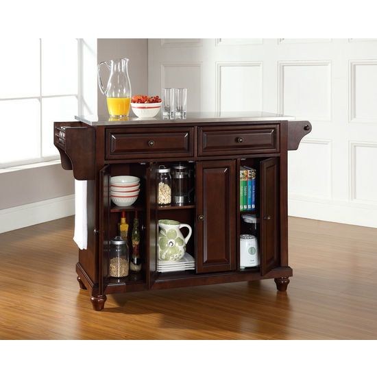 Kitchen Cart or Island in Black, Classic Cherry or White finish