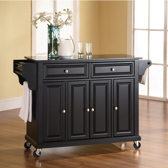 Crosley Furniture Solid Black Granite Top Kitchen Cart Or
