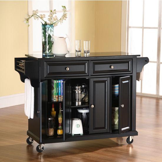 Crosley Furniture Solid Black Granite Top Kitchen Cart/Island