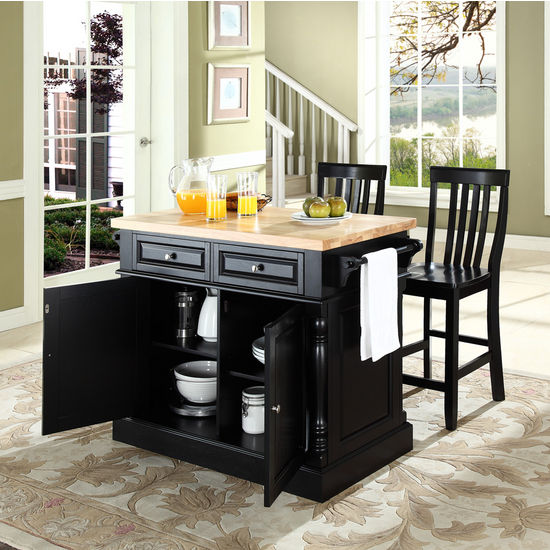 "Crosley Furniture Butcher Block Top Kitchen Island in Black Finish with 24"" Black School House Stools"