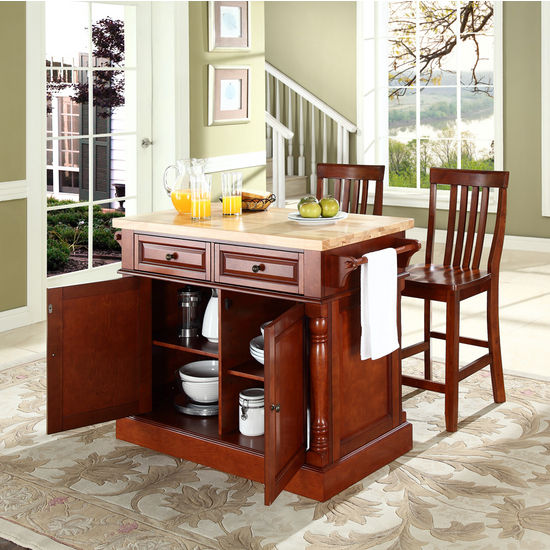 "Crosley Furniture Butcher Block Top Kitchen Island in Cherry Finish with 24"" Cherry School House Stools"