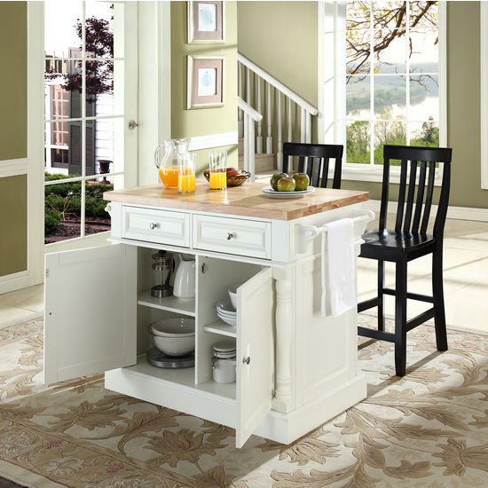 "Crosley Furniture Butcher Block Top Kitchen Island in White Finish with 24"" Black School House Stools"