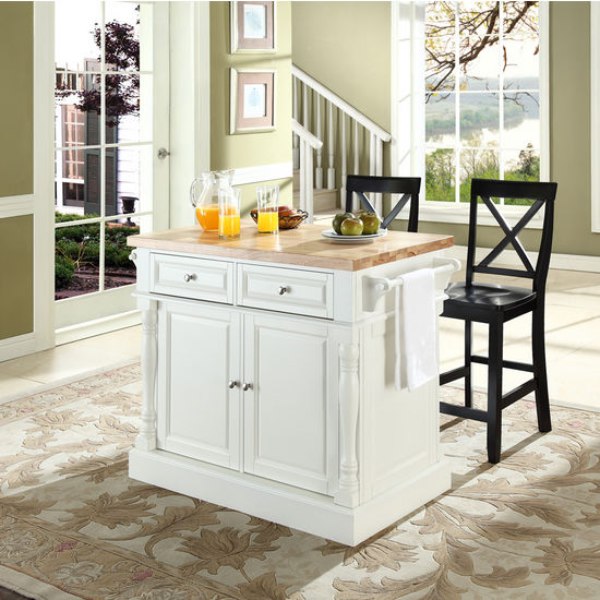 Crosley Furniture White Craftsman Kitchen Island At Lowes Com: Crosley Furniture Butcher Block Top Kitchen Island With