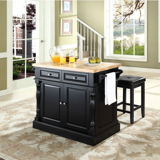 Crosley Furniture Black Craftsman Kitchen Island At Lowes Com: Crosley Furniture Butcher Block Top Kitchen Island With
