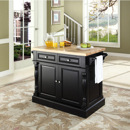 Crosley Furniture Butcher Block Top Kitchen Island in Black Finish