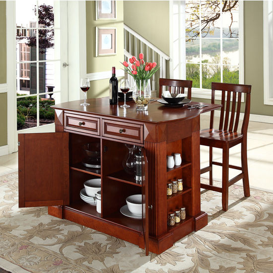 "Crosley Furniture Drop Leaf Breakfast Bar Top Kitchen Island in Cherry Finish with 24"" Cherry School House Stools"