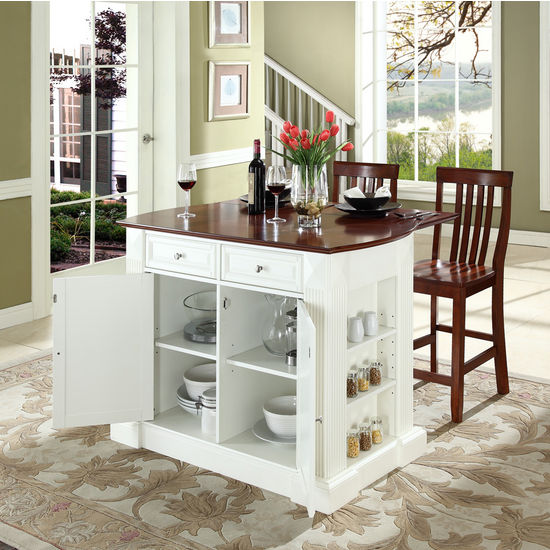 "Crosley Furniture Drop Leaf Breakfast Bar Top Kitchen Island in White Finish with 24"" Cherry School House Stools"