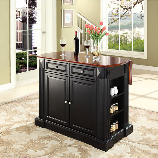 Crosley Furniture Drop Leaf Breakfast Bar Top Kitchen Island in Black Finish