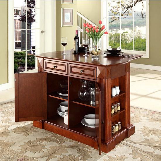 Crosley Furniture Drop Leaf Breakfast Bar Top Kitchen