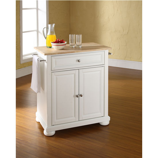 Moveable Solid Wood Ceramic Buffet Kitchen Sink Cabinet: Crosley Furniture Alexandria Natural Wood Top Portable