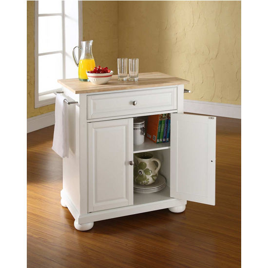 Furniture Natural Brown Movable Kitchen Island With: Crosley Furniture Alexandria Natural Wood Top Portable