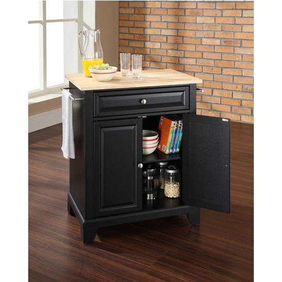 Crosley Furniture Newport Natural Wood Top Portable Kitchen Island in Black Finish